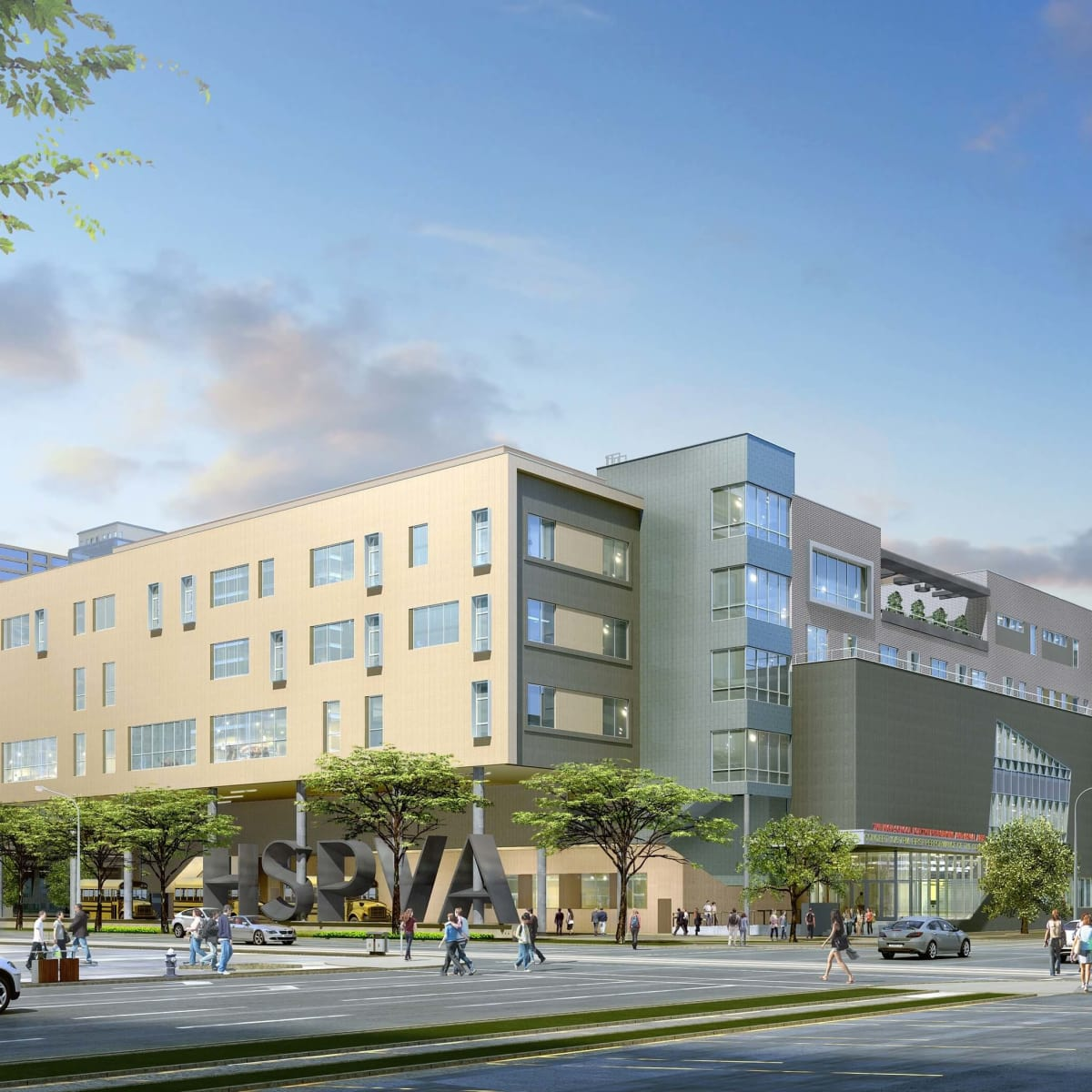 Rendering of new HSPVA building day view