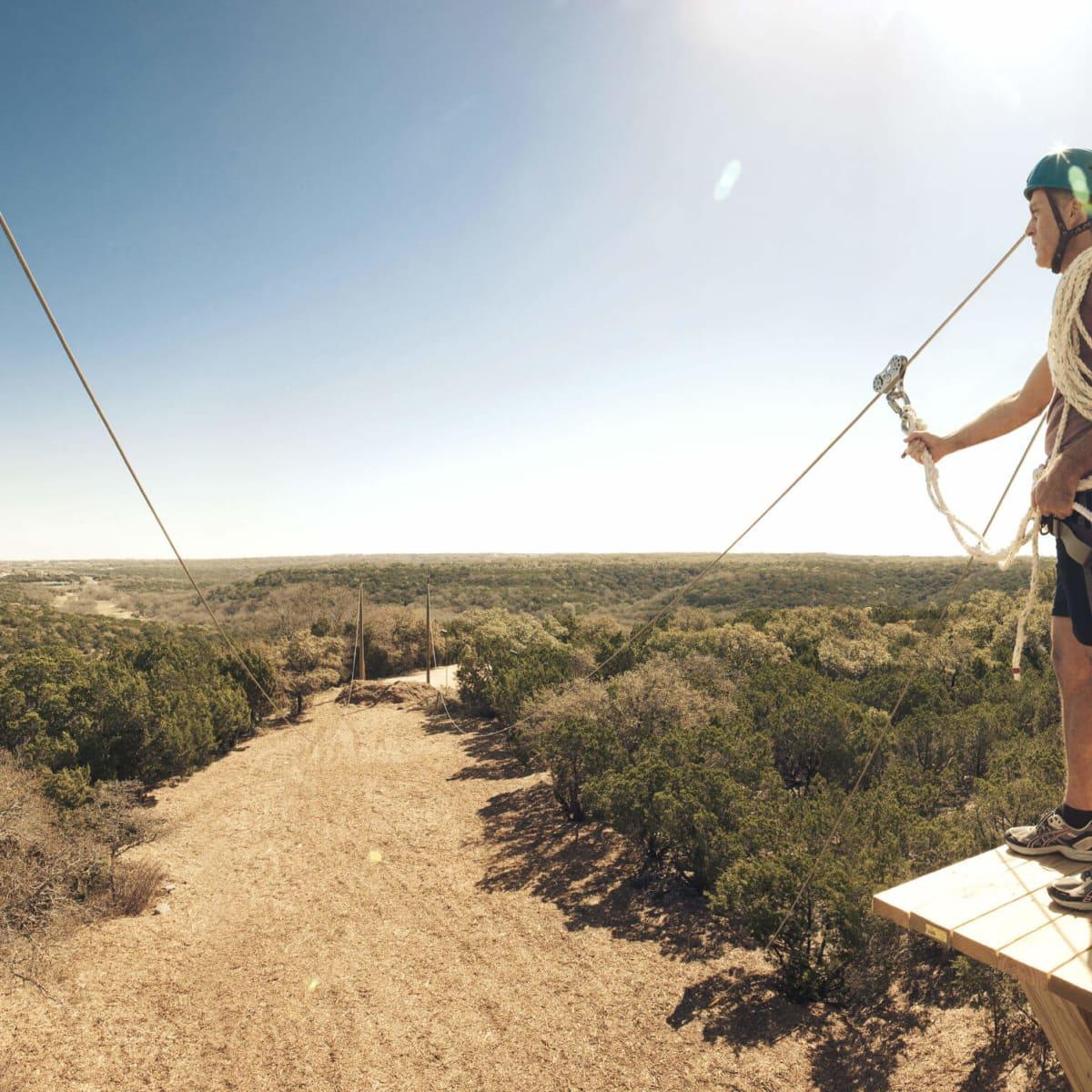 Zip-lining at Travaasa Austin