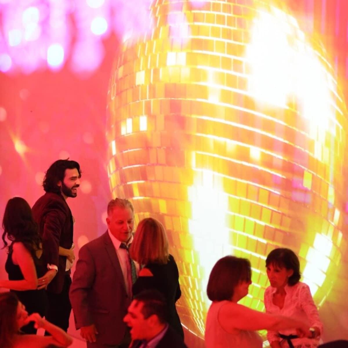 Wedding Pugh Dascoulias party disco ball