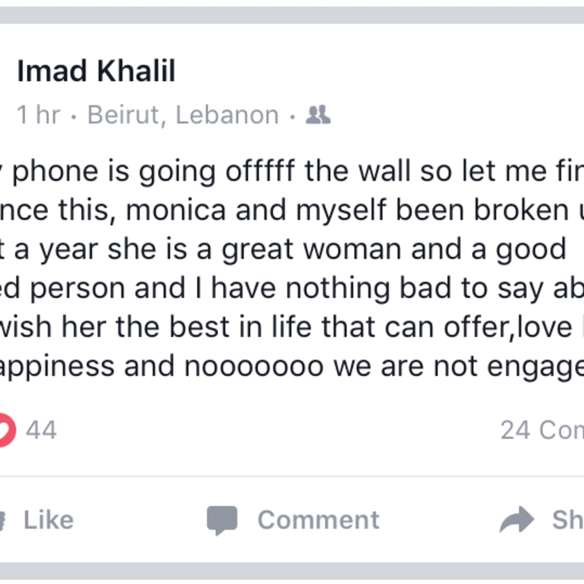 Married to Medicine Houston Imad Facebook message