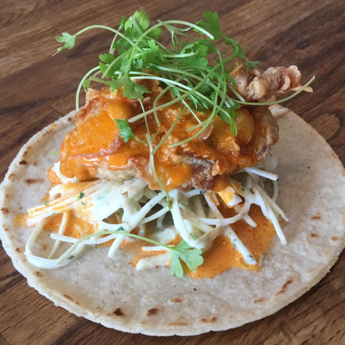 Fusion Taco Chicken fried oyster