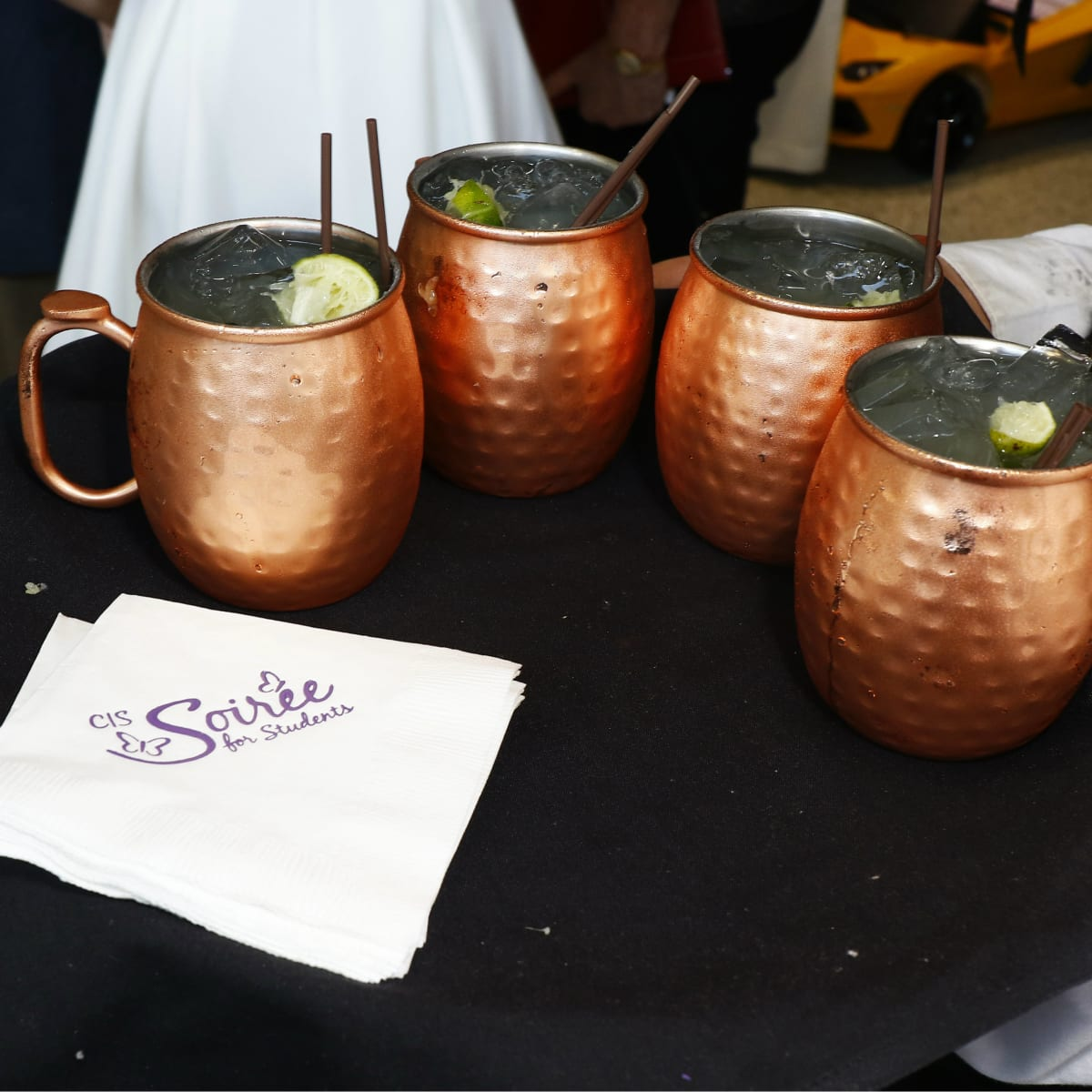 Garden Mules with event logo napkins