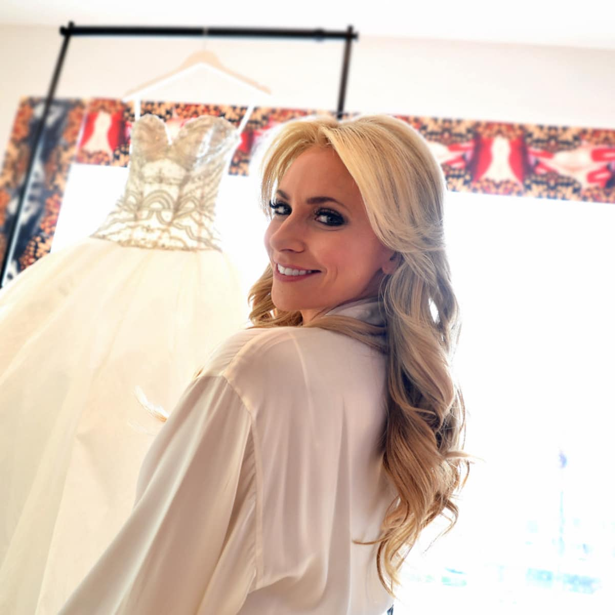 Houston, Chita Johnson wedding, June 2016, Chita with her dress getting ready