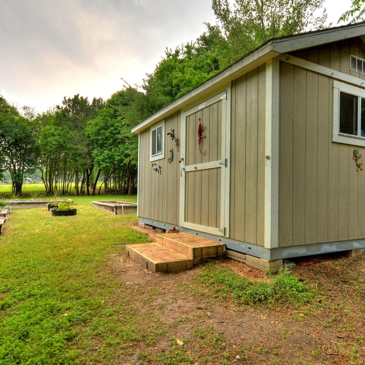 Austin home house 2416 S 2nd Street 78704 backyard storage