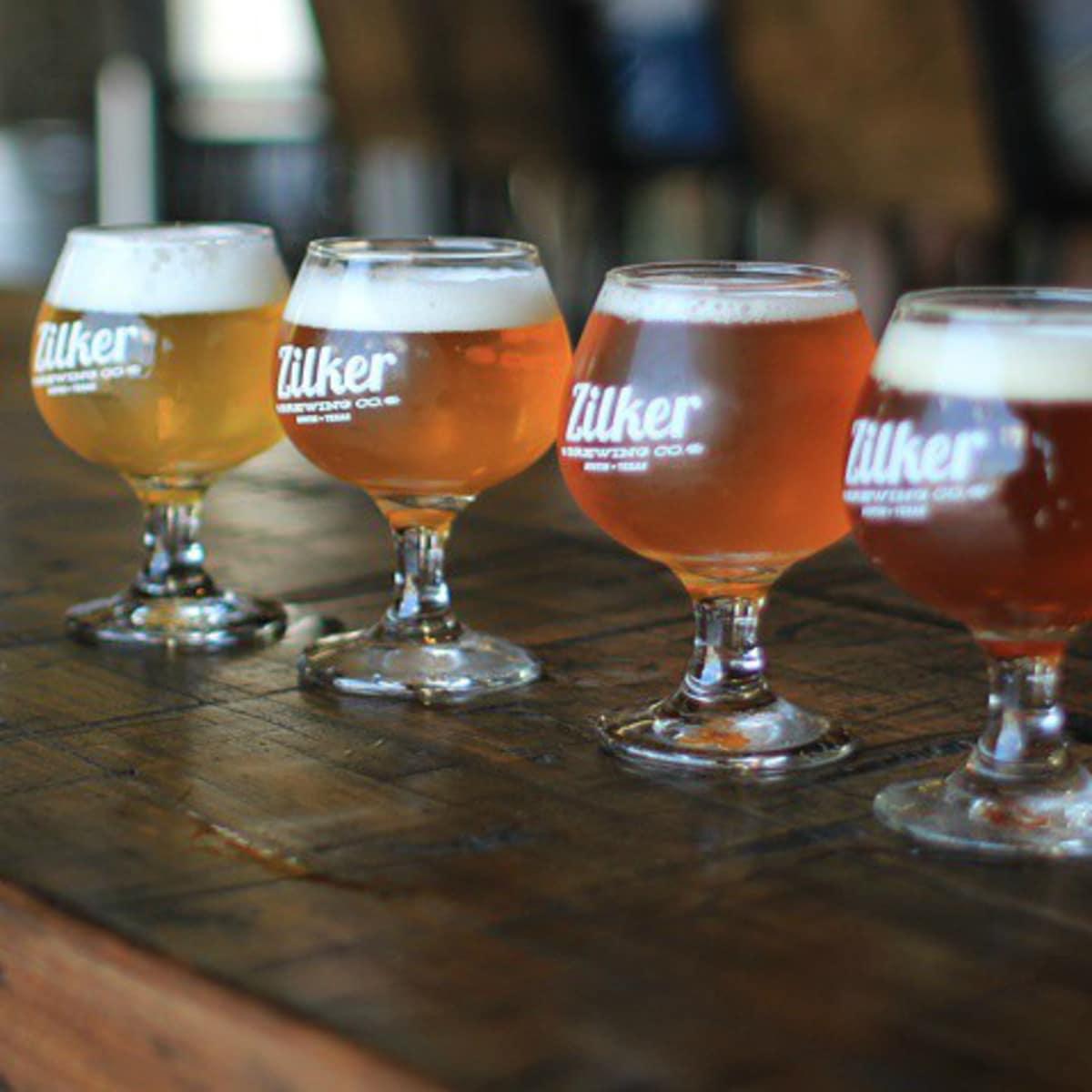 Zilker Brewing Company Austin brewery beer flight lineup
