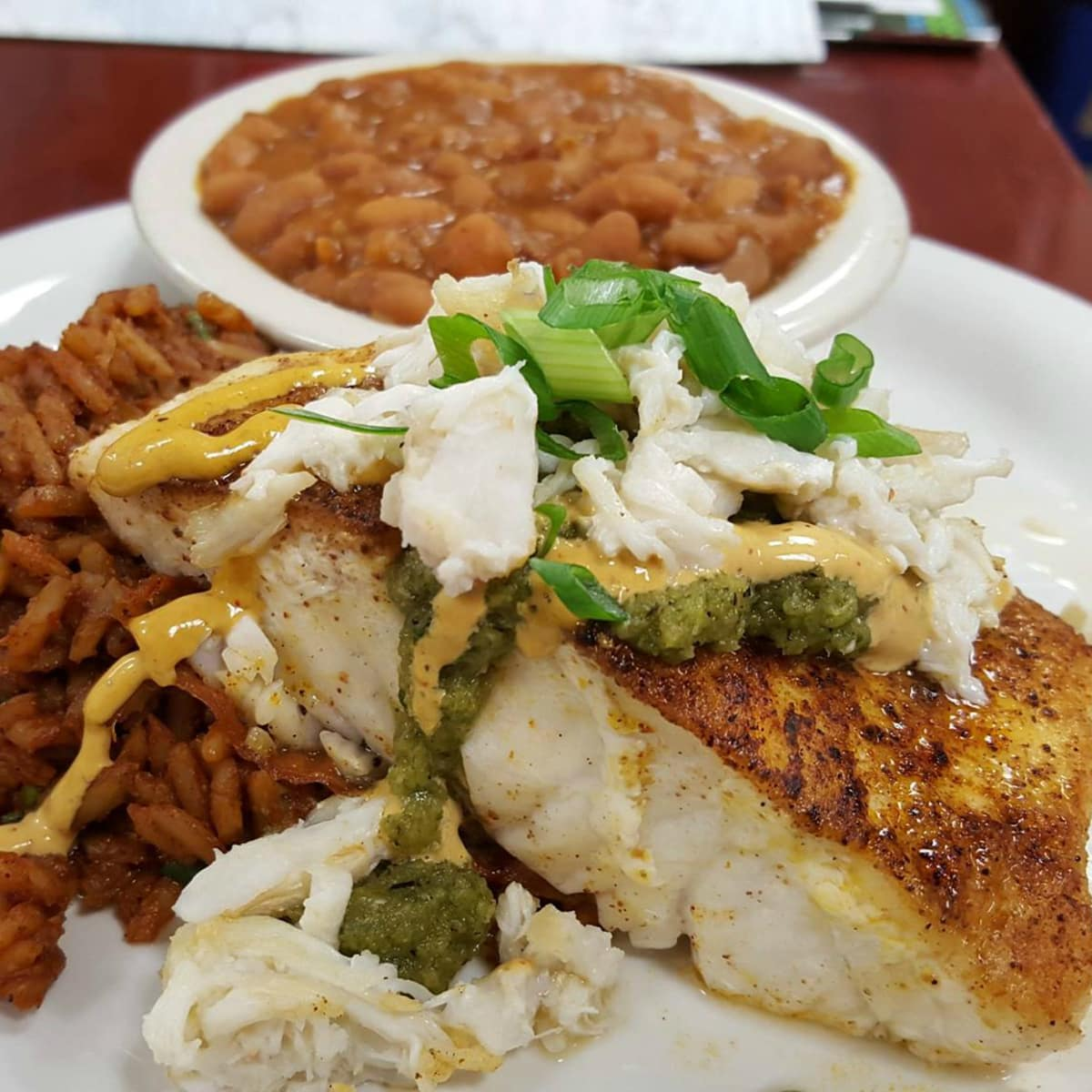 Quality Seafood Market fish dish corvina rice beans 2016