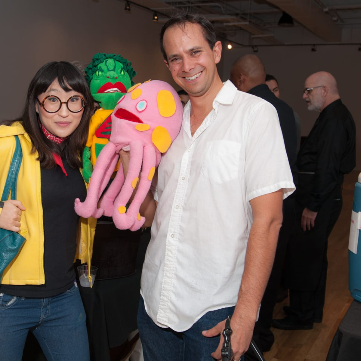 News, DiverseWorks MATCH party, Dec. 2015 JooYoung Choi, Jake Margolin