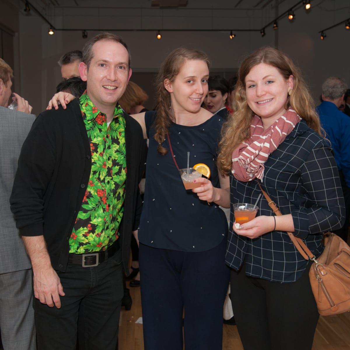 News, DiverseWorks MATCH party, Dec. 2015 Dennis Nance, Sarah Darro, Hayley McSwain