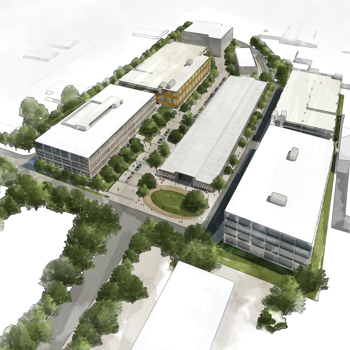 Saint Elmo Public Market rendering South Austin campus buildings 2015