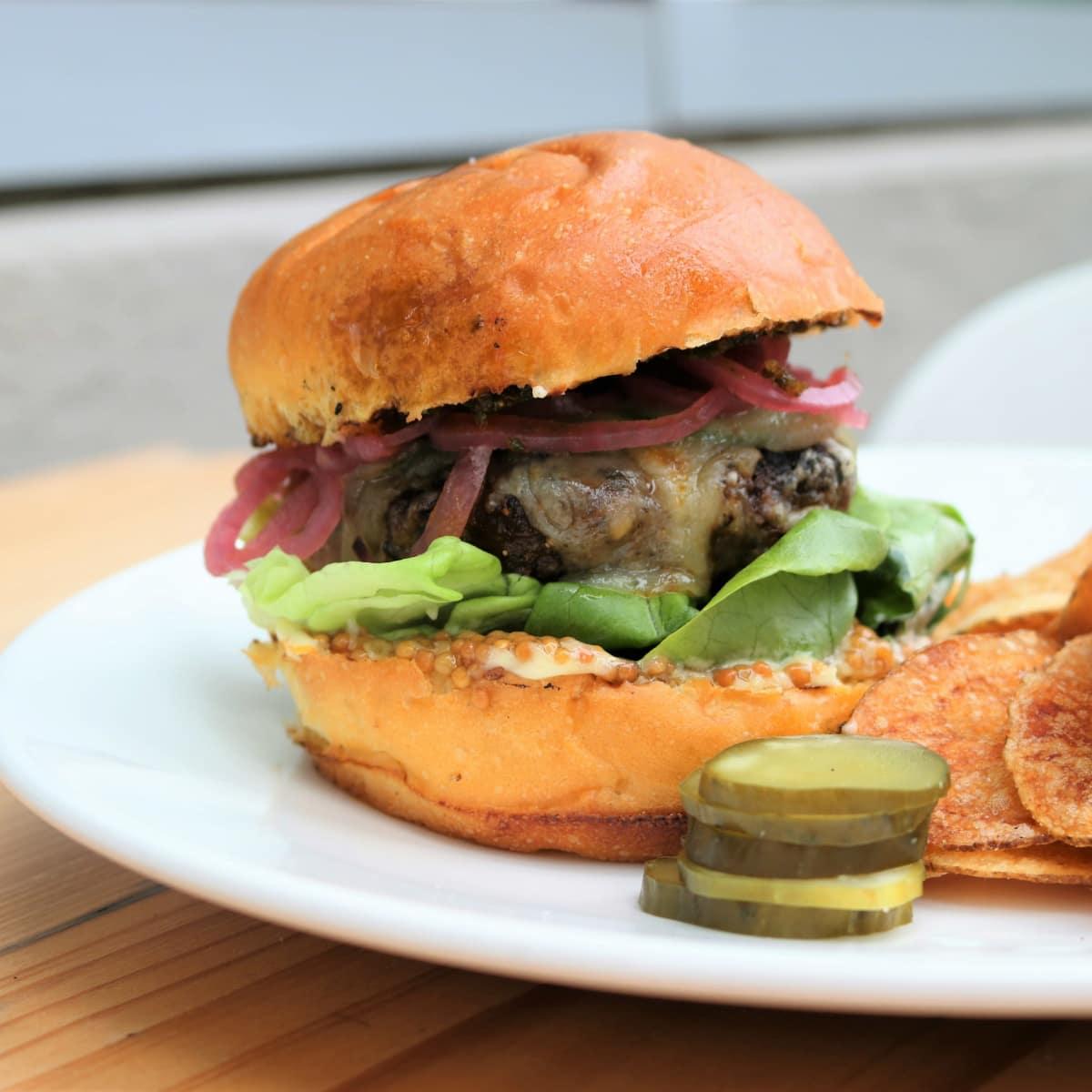 Lamb and chorizo burger at Boiler Nine in Austin