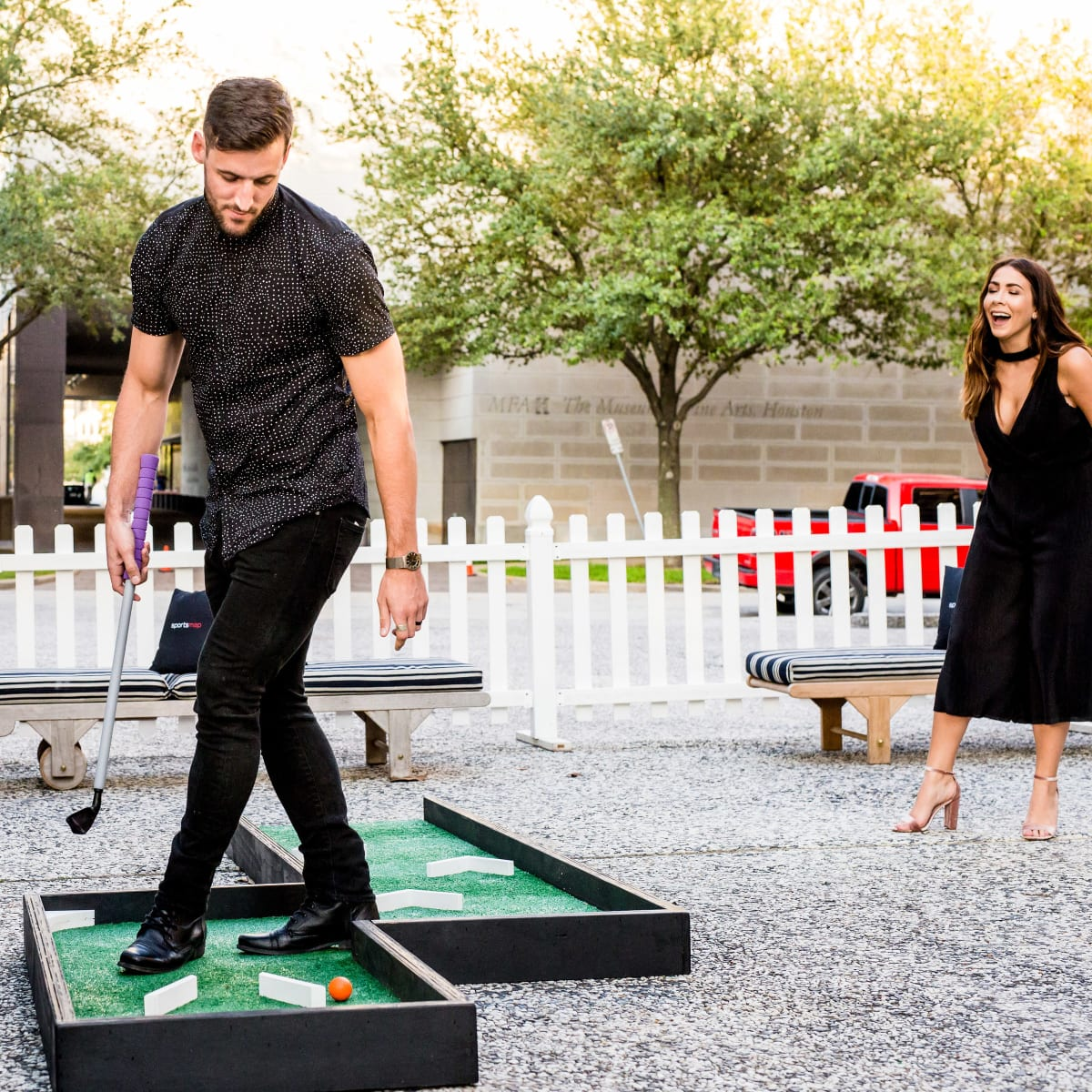 Houston, SportsMap launch party, October 2017, Sam Windsor, Becca Windsor