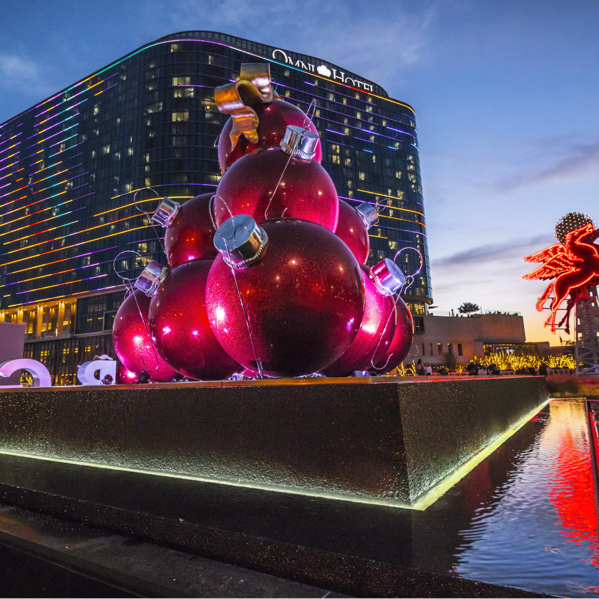 Omni Dallas hotel with Christmas decorations