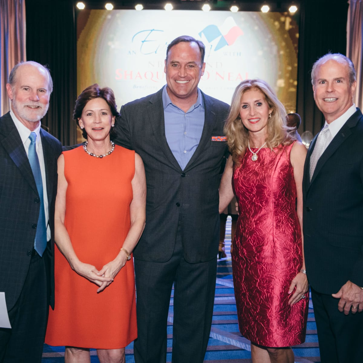 Shaquile O' Neal Honorary event chairs (L to R) Stephanie & Brad Tucker and Monica & Kevin King with Matt Iseman