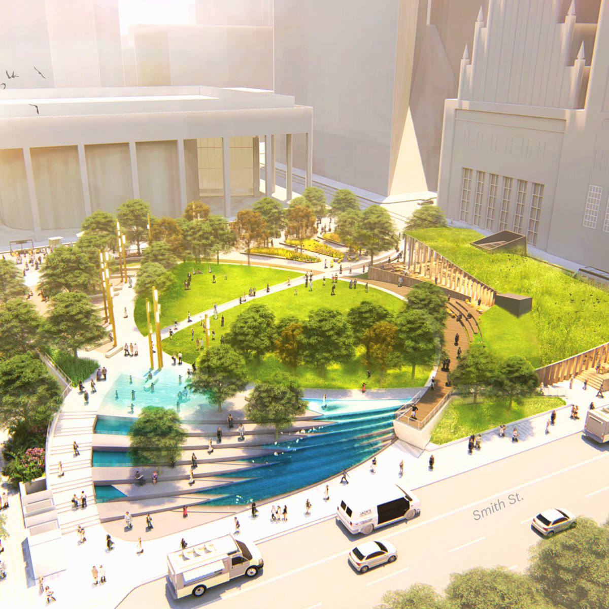 Jones Plaza redevelopment aerial