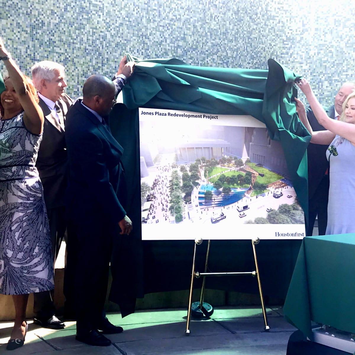 Jones Plaza redevelopment Mayor Turner Jim Crane Whitney Crane unveil
