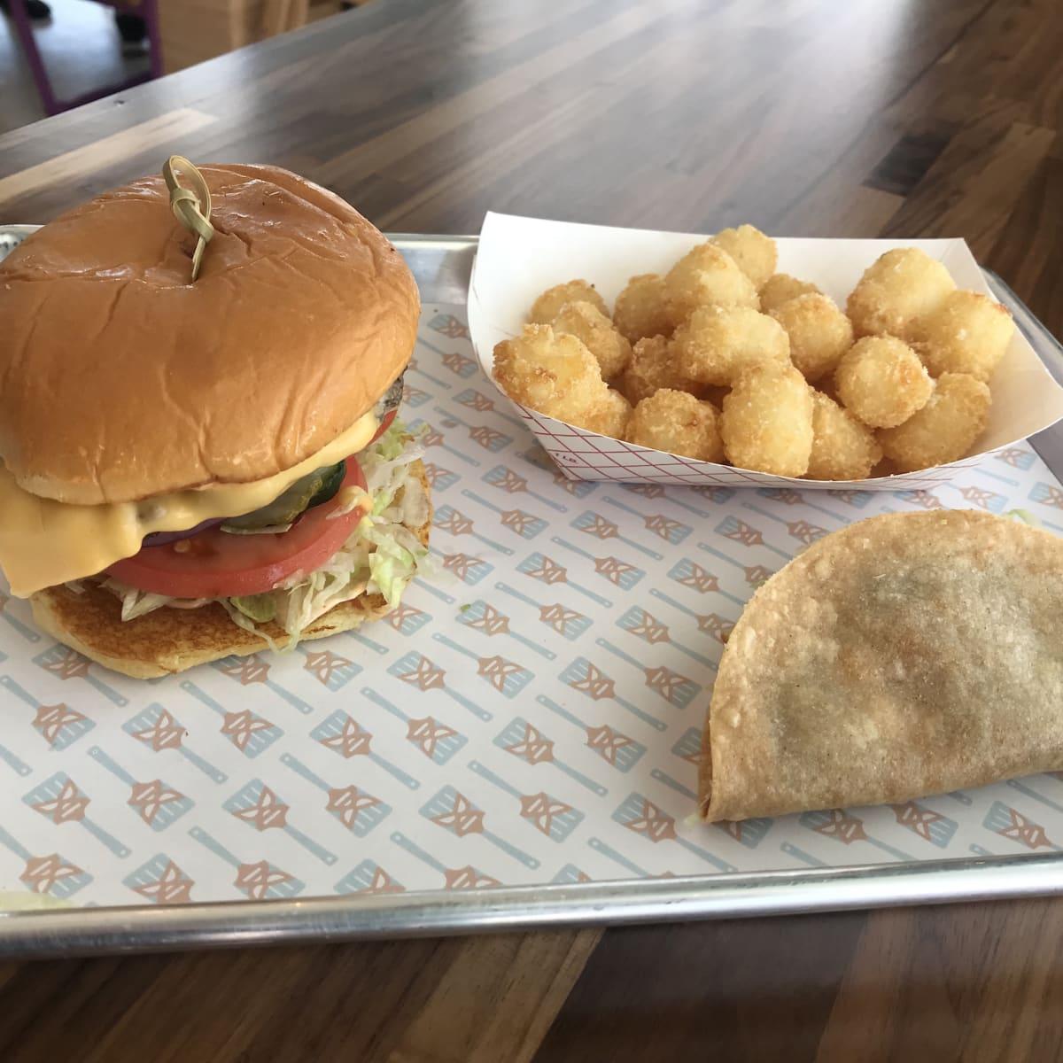 Burger Libre burger taco and tots