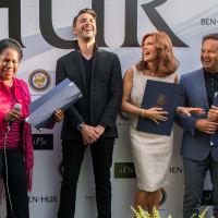 Ben-Hur premiere, Aug. 2016, Sheila Jackson Lee, Jack Huston, Roma Downey, Mark Burnett