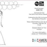 Designer appearance and trunk show: Zang Toi benefiting Da Camera