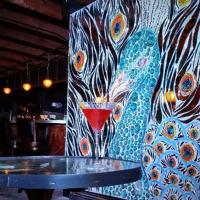 Dozen Street_Austin east side bar_interior_mirrored peacock mural
