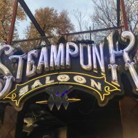 Steampunk Saloon Austin bar sign
