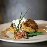 Truluck's seafood restaurant crab cakes dish