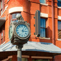 Clock in downtown Fort Worth