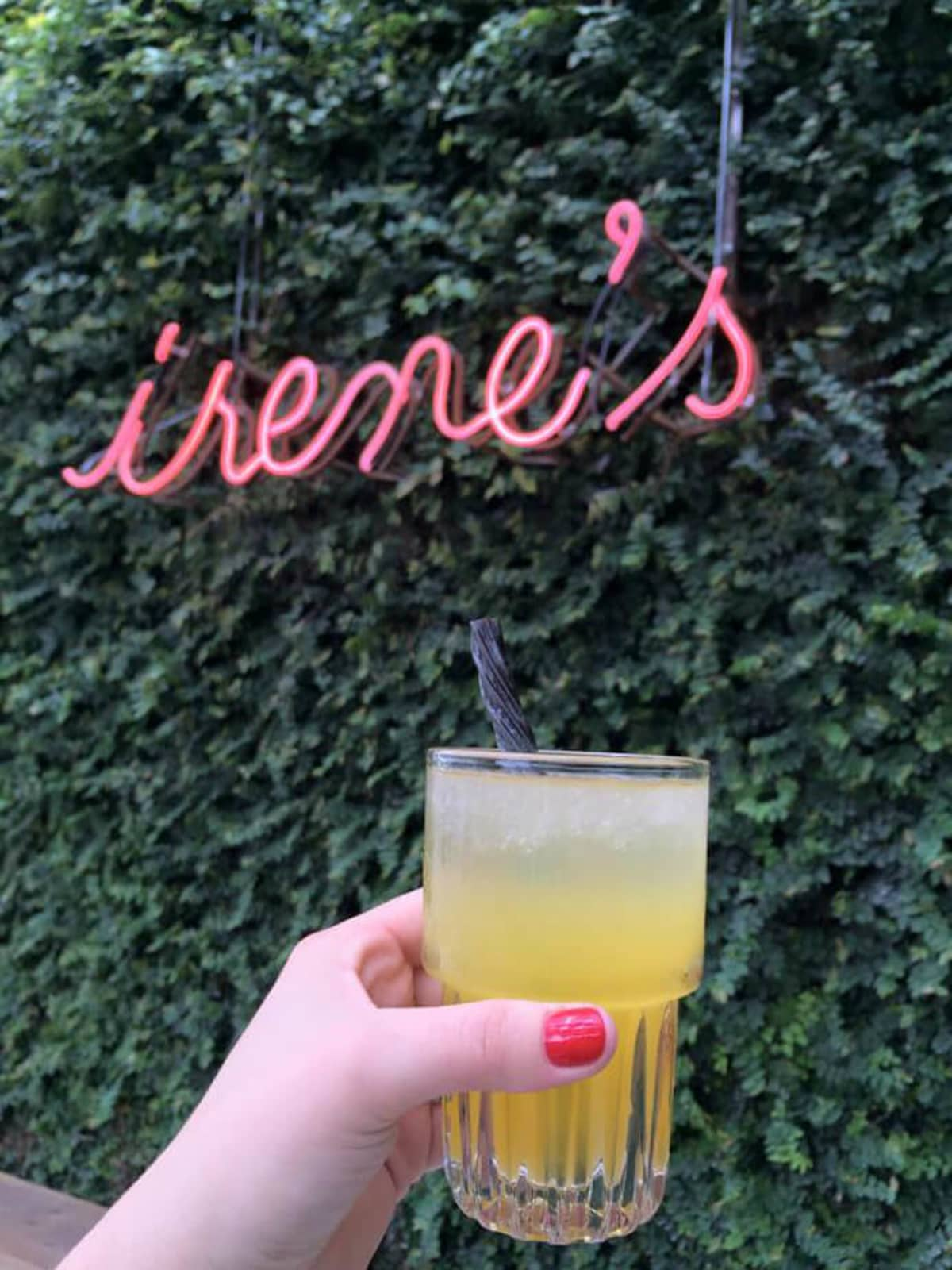 Irene's restaurant downtown Austin sign cocktail drink licorice
