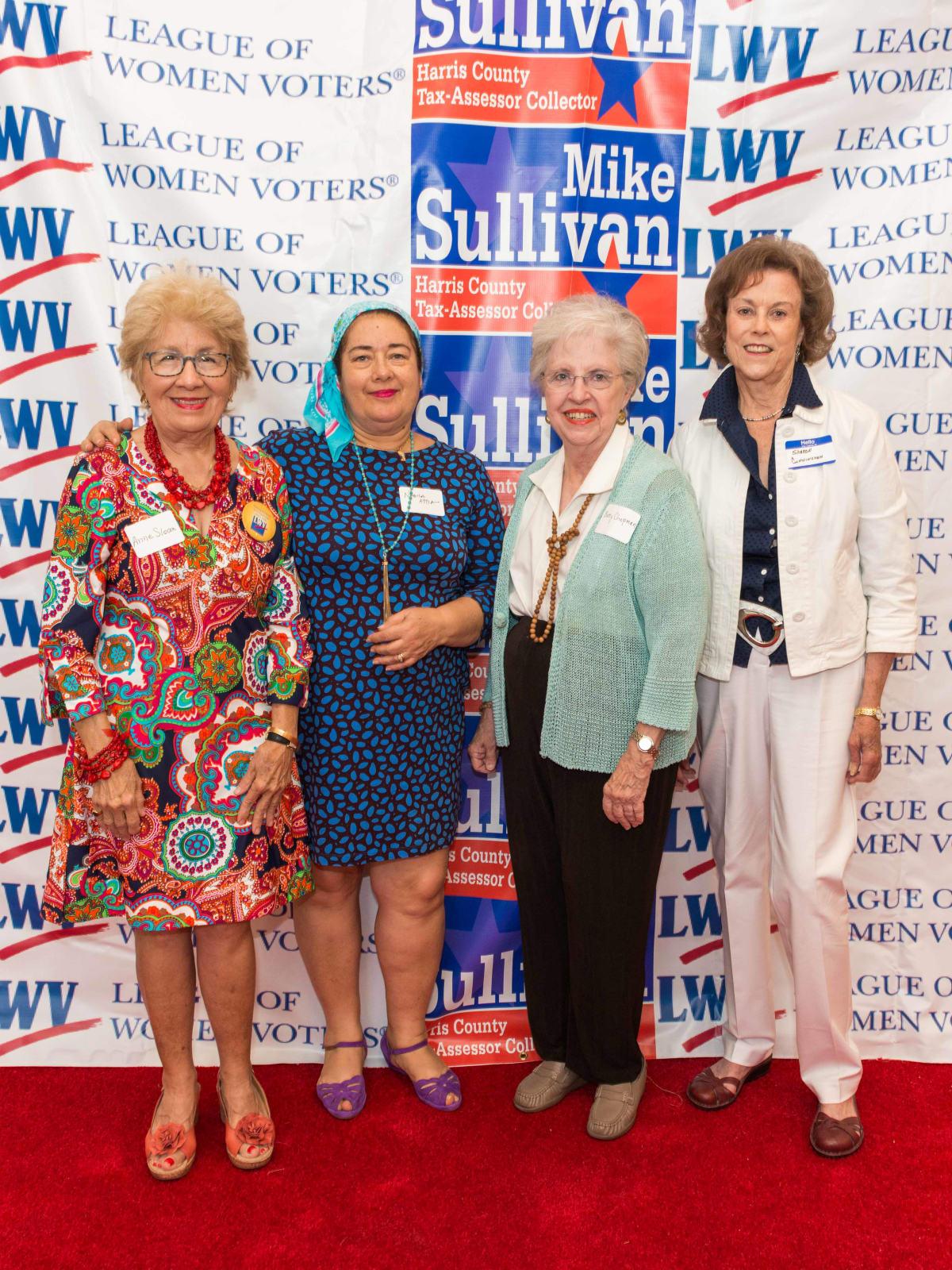 Anne Sloan, Nabila Attia, Betty Chapman, Sharon Cunningham at Houston's Women's Equality Day Celebration