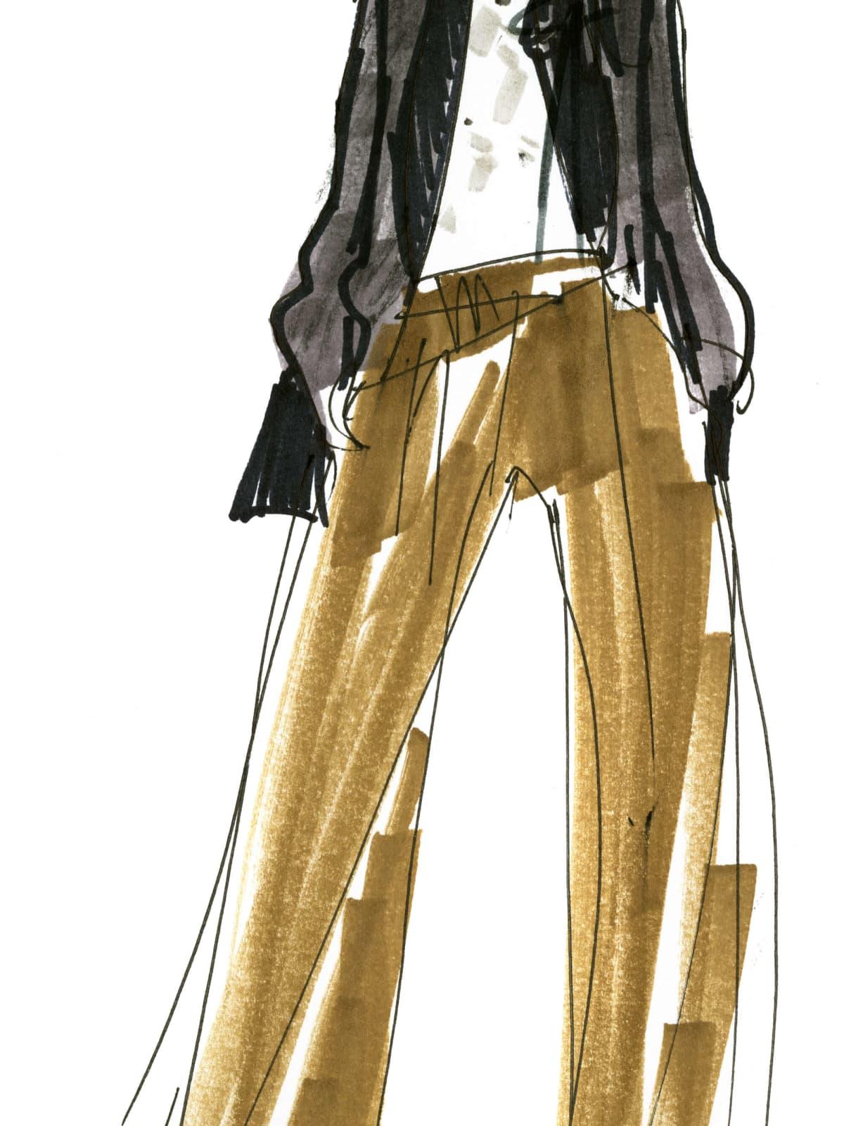 J Crew womenswear designer inspiration sketch Somsack Sikhounmuong