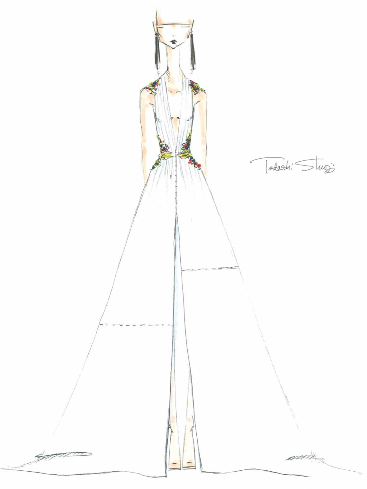 Tadashi Shoji designer sketch inspiration spring 2017