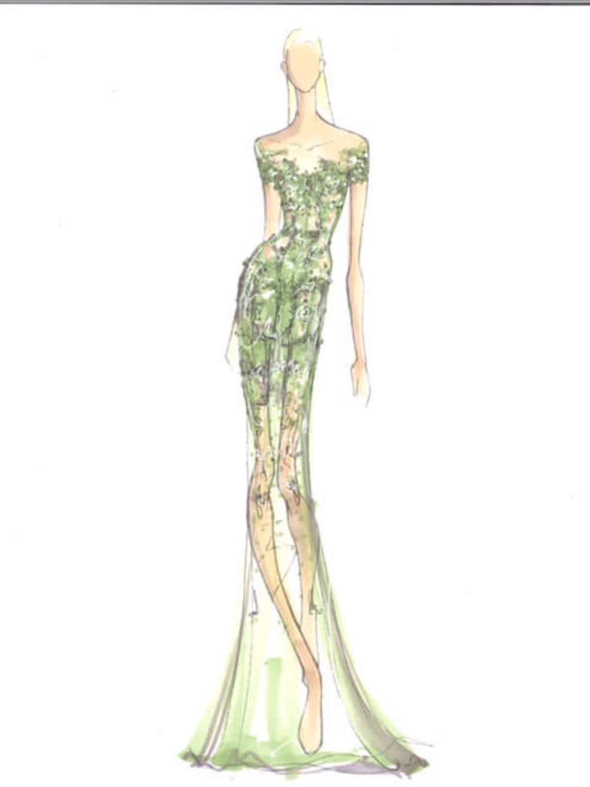 Pamella Roland designer inspiration sketch spring 2017