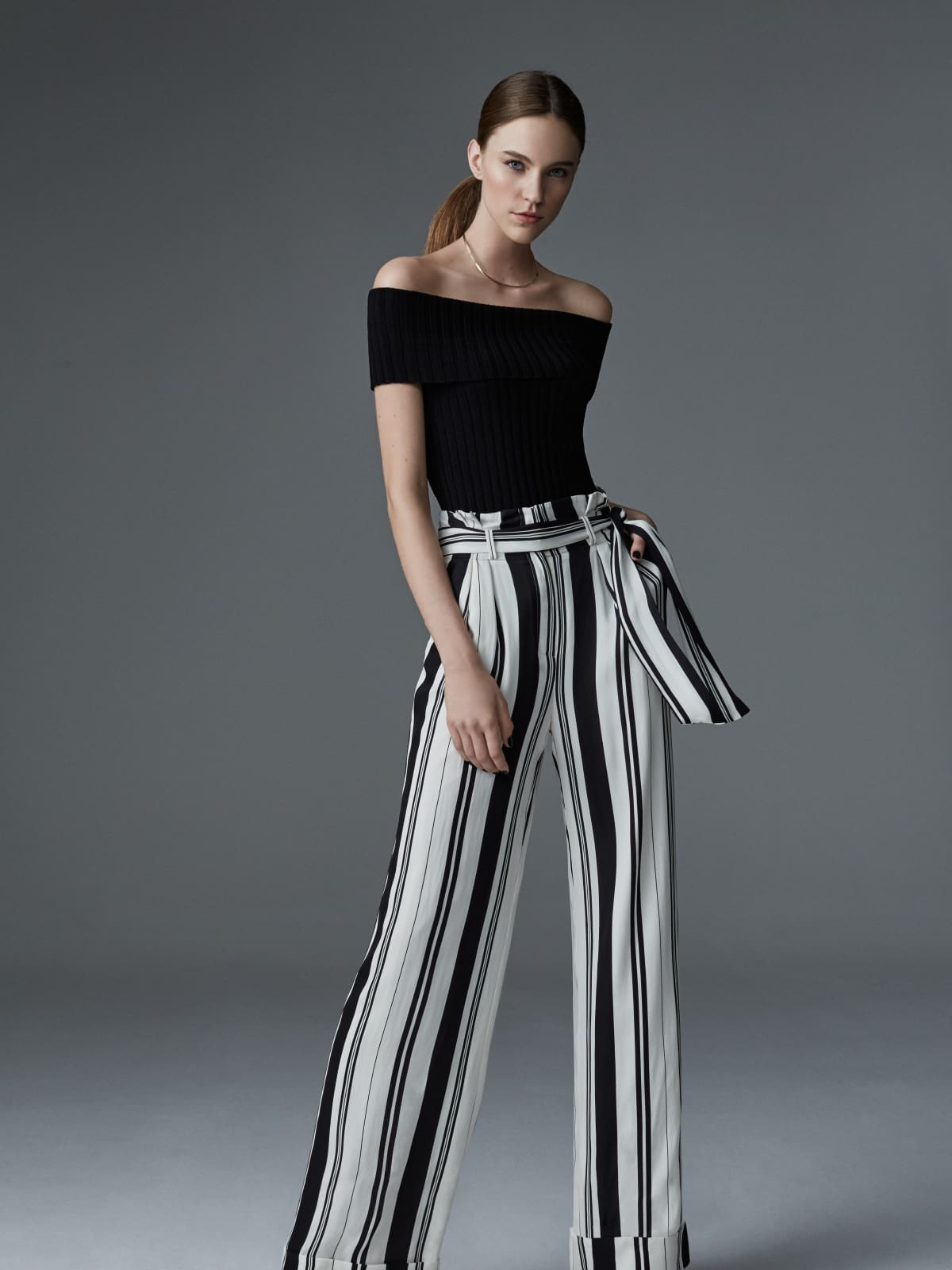 Olivia Palermo + Chelsea28 stripe wide leg pant and off shoulder blouse at Nordstrom