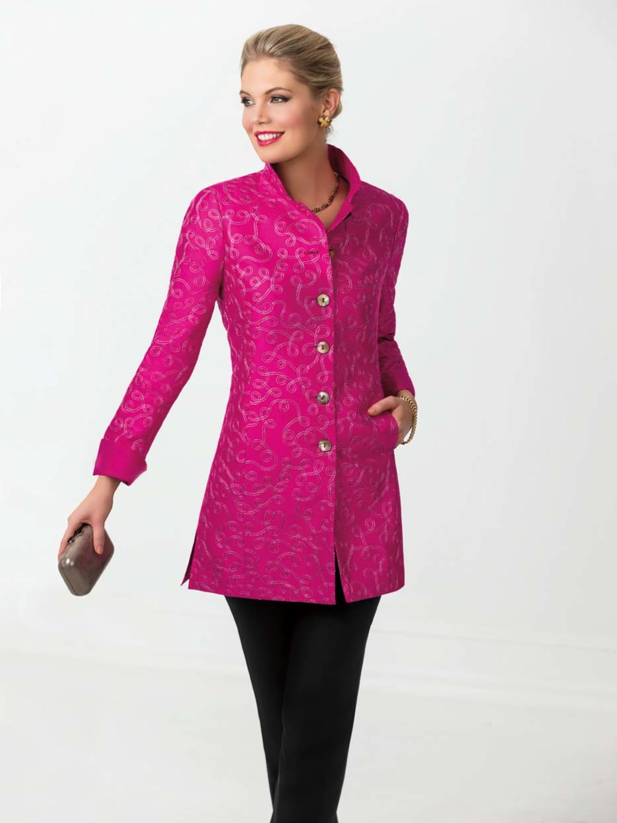 Nina McLemore pink embroidered jacket