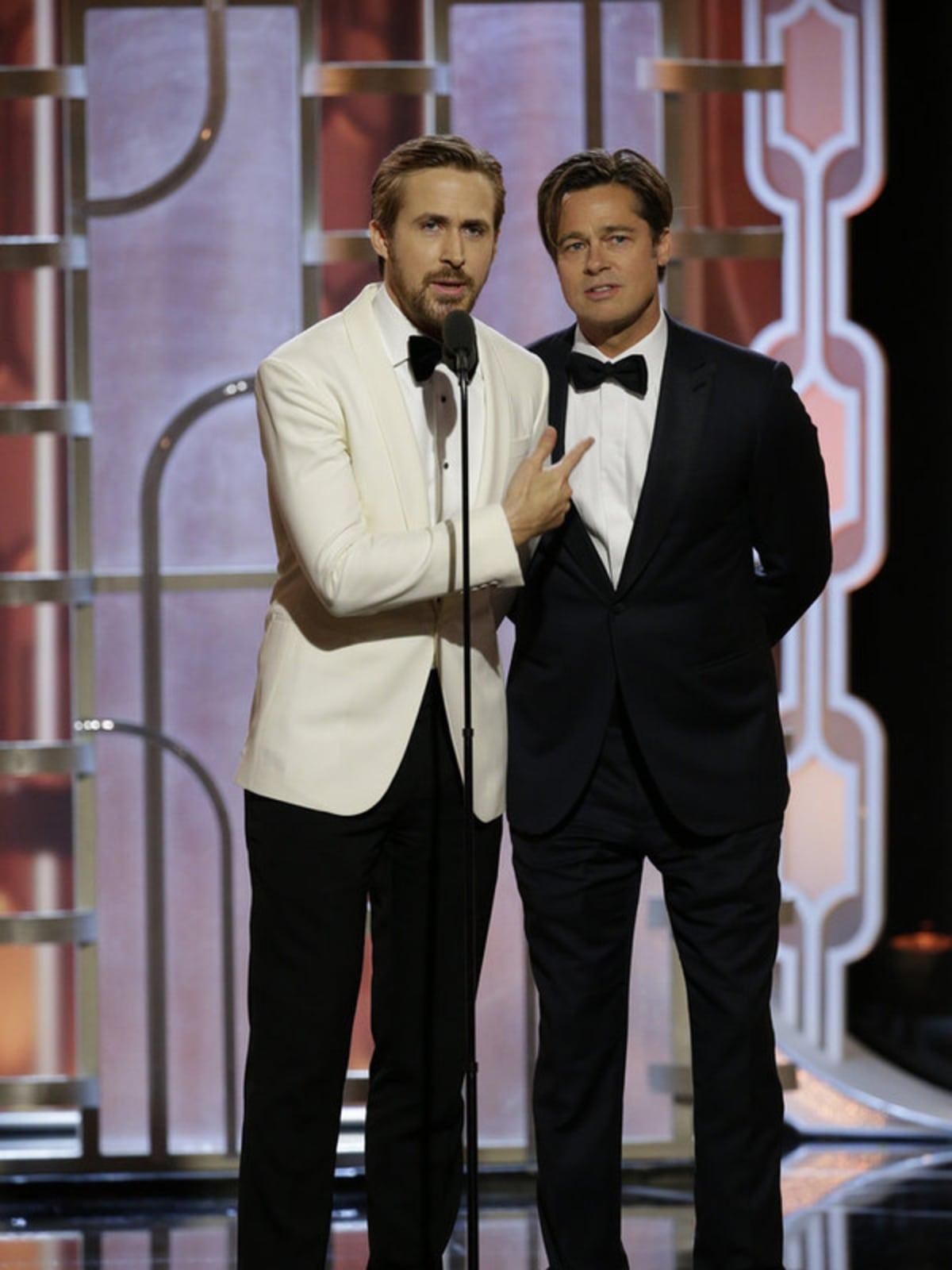 Ryan Gosling and Brad Pitt at Golden Globe Awards