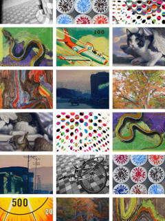 collage of art that will be on display at the Holiday Show at Davis Gallery Austin