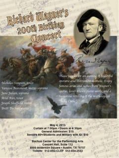 Flyer for Richard Wagner celebration at Bachus Conservatory
