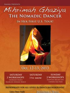 Mihrimah Ghaziya the Nomadic Dancer workshop and show flyer