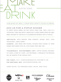 flyer for Make Eat Drink at Canopy for East Austin Studio Tour