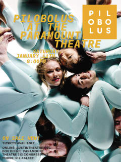 poster for Pilobolus Dance Company performance at Paramount in Austin