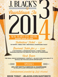 flyer for J. Black's New Year's Eve Party