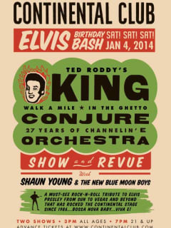 flyer for 27th annual Tribute to the King at the Continental Club
