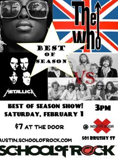 poster for School of Rock Austin's best of Winter 2014 show