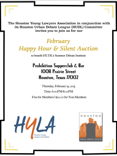 Houston Young Lawyers Association's February Happy Hour and Silent Auction