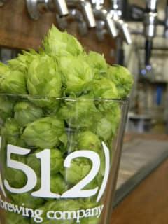 512 Brewing Company Austin brewery glass logo hops