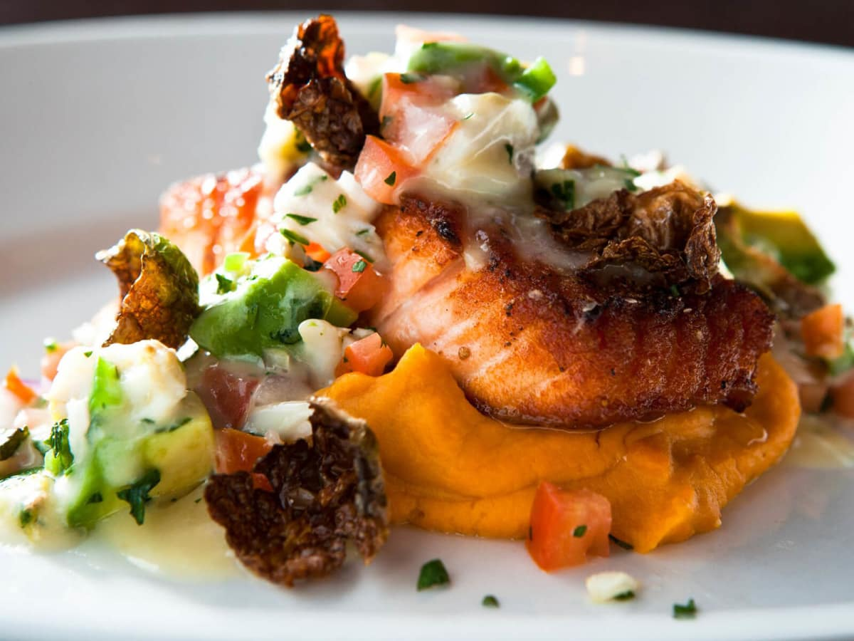 Salmon and vegetables at Dish restaurant in Dallas