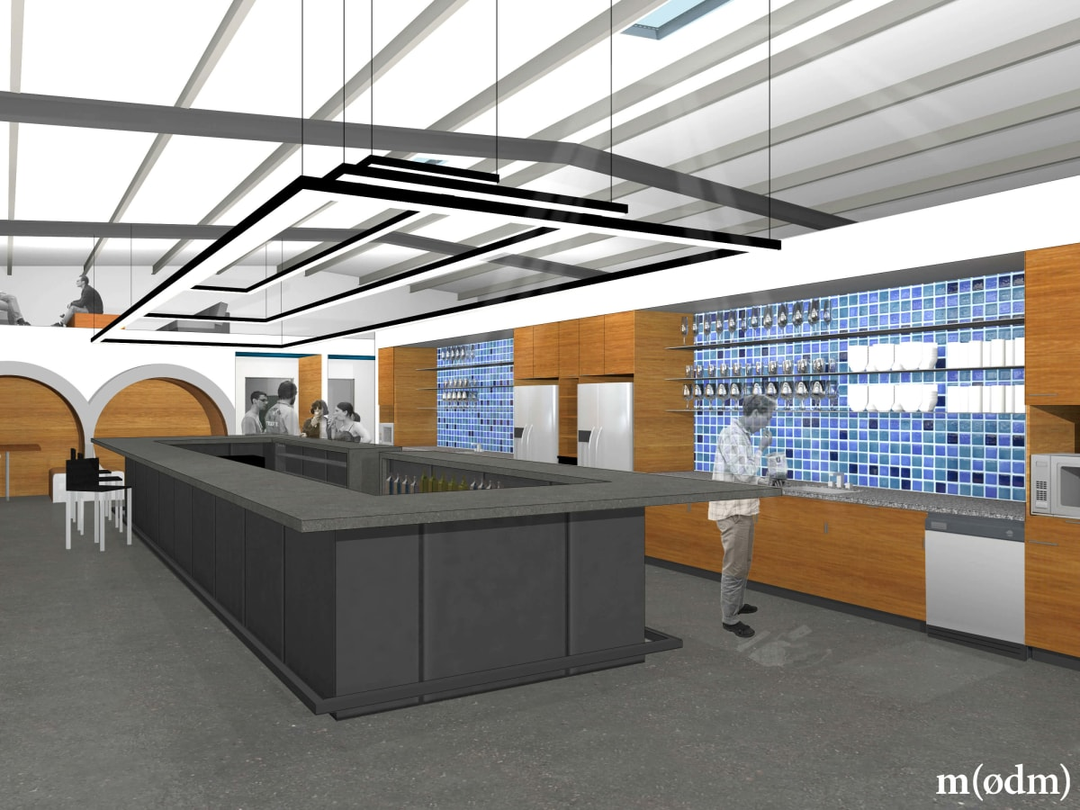 ATX Factory co-working space office East Austin rendering bar