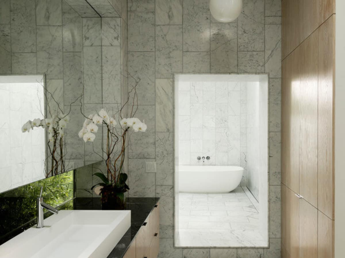 Houzz Houston house home Japanese-style concrete box bathroom