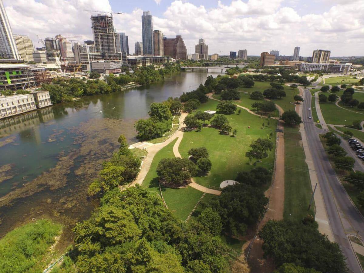 Austin aerial view downtown skyline