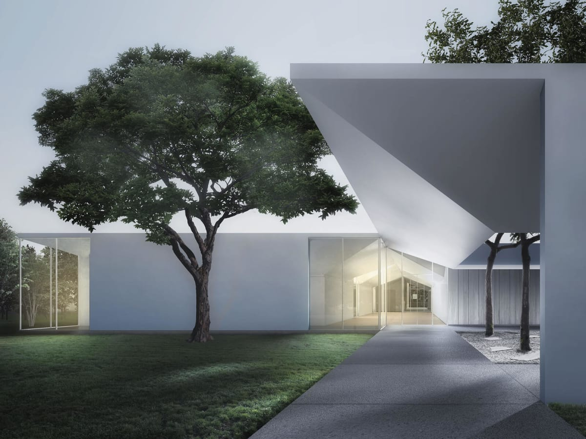 3. Menil Drawing Institute at dusk, looking past the west entrance courtyard