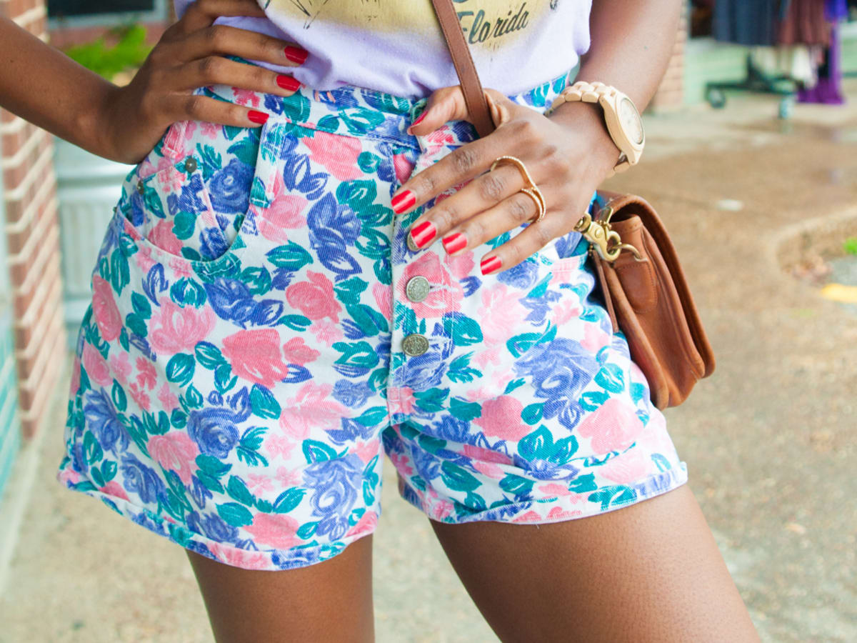 colorful high waisted shorts from Blue Velvet Vintage in Austin, Texas